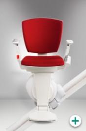 Foto des Sitzlift Modell 4100 für kurvige Treppen mit rotem Polster