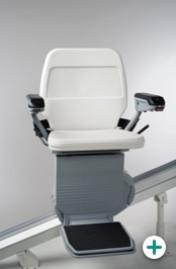 Foto des Außen-Sitzlift Modell 320 für gerade Treppen mit weißem Polster