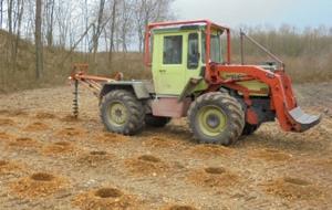 Ein Bagger gräbt Löcher auf einem Feld für die Baumplfanzung